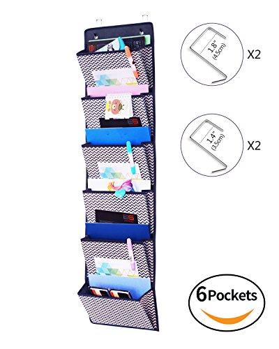 wahrung für über die Tür oder Wand - Magazinboard, Hängeorganizer, Stoffregal, Zeitungshalter, 6 Taschen, Grau/Weiß Zickzack, XBZ06C (über Der Tür Schrank)