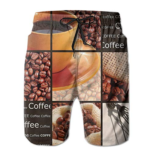 jiger Men Swim Trunks Beach Shorts,Square Frames Collage Design with Orange Cup Hot Beverage Morning Drink,Quick Dry 3D Printed Drawstring Casual Summer Surfing Board Shorts M Tall Beverage