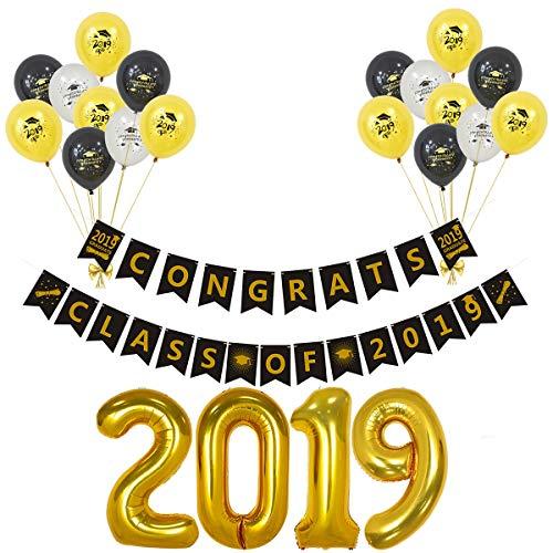Amosfun 2019 Abschlussfeier Dekorationen Set Klasse von 2019 Bunting Banner 2019 Anzahl Folienballons Abschlussfeier liefert 20 STÜCKE