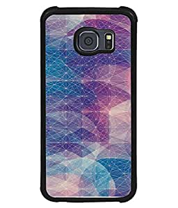 PrintVisa Designer Back Case Cover for Samsung Galaxy S6 Edge :: Samsung Galaxy S6 Edge G925 :: Samsung Galaxy S6 Edge G925I G9250 G925A G925F G925Fq G925K G925L G925S G925T (Blue purple pink white lines web)
