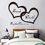 Autocollant Mural, Coeurs Personnalisé Personnalisé Couple Nom Vinyle Art Sticker...
