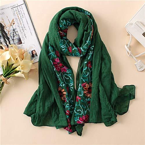 NUIOH Schal Uni Bestickter Blumen Viskose Schal Schal Bandana Print Baumwolle Schals Und Wickel Hijab -
