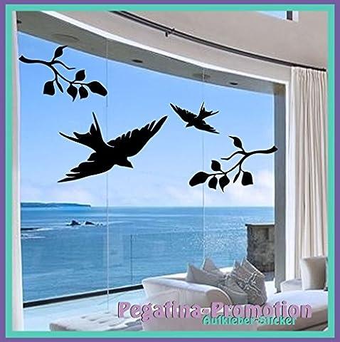 Vogel Aufkleber 2er Set - 2x Äste 30cm und 2x Vögel 22cm und 18cm nutzbar als Wandtatto, Warnvögel gegen Vogelschlag, Schutz vor Glasbruch, Fensterschutz auch für Autos,