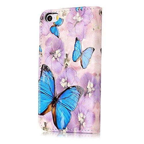 Apple iPhone 5/5S Coque, Voguecase Étui en cuir synthétique chic avec fonction support pratique pour Apple iPhone 5 5G 5S SE (Papillon/Fleur bleu)de Gratuit stylet l'écran aléatoire universelle Papillon/Fleur bleu