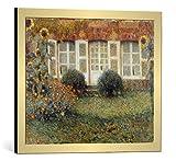 kunst für alle Bild mit Bilder-Rahmen: Henri Le Sidaner Gartenhaus und Sonnenblumen - dekorativer Kunstdruck, hochwertig gerahmt, 60x50 cm, Gold gebürstet