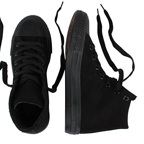 Bequeme Canvas Sneakers | High-Cut Modell | Basic Freizeit Schuhe | Viele Farben und Muster | Gr. 36-42 Schwarz