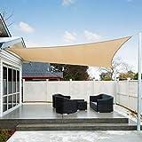 AXT SHADE Tenda a Vela Impermeabile Rettangolare 4 x 6m, Parasole e Protezione Raggi UV, per Esterni, Cortile, Giardino, Colore Sabbia