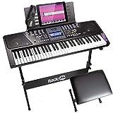 RockJam RJ561 61-Keys Electronic Keyboard SuperKit, Black, with Stand, Stool, Headphones and Power
