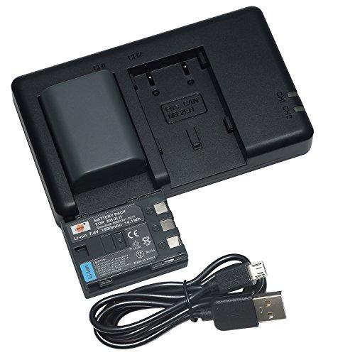DSTE 2PCS NB-2LH NB-2L(1900mAh/7.4V) Batterie Chargeur for Canon Optura 500,PowerShot G9, S40,VIXIA HF R11,DC320,Elura 90,EOS 350D,400D,Digital Rebel XT,XTi,FV500,FVM20,BP-2L5,BP-2LH