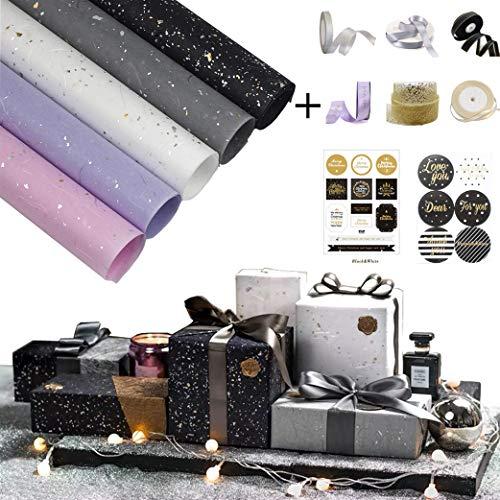 sfesnid 5 X Geschenkpapier Golddruck(42 X 60CM Pro Rolle) + 6 X Satinband Verpackung für Geschenk Geburtstag Hochzeit Taufe Valentines Weihnachten Geschenkverpackung