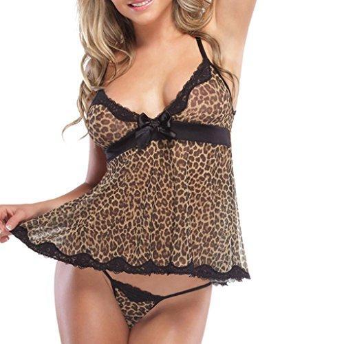 Lingerie Rock Thong (Damen Unterwäsche Internet Dessous Leopard Print Versuchung Nachthemd Perspektive Rock (L, schwarz))