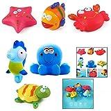 LHKJ Animales flotantes para el baño para niños bebés - Peces, Estrellas de mar, Caballos de mar (6 Piezas)