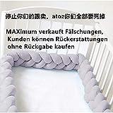 Baby Krippe Stoßfänger geknotet geflochten Bettumrandung Babybett Länge 78.7 inch 2m Baby Nestchen Bettumrandung Weben Geflochtene Stoßfänger Dekoration für Krippe Kinderbett (Grau)