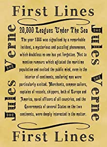 A4 Size Parchment Poster Literary First Lines Jules Verne 20000 Leagues Under the Sea