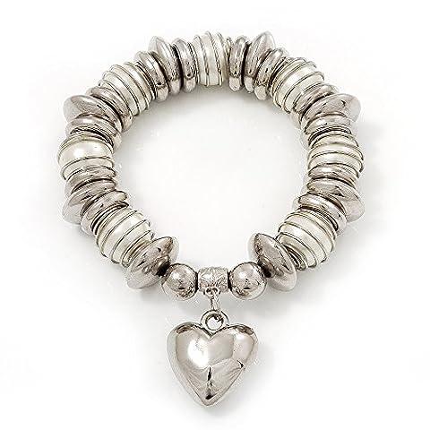 Chunky Blanc Faux Pearl & Argent rhodié–Perle métal cœur