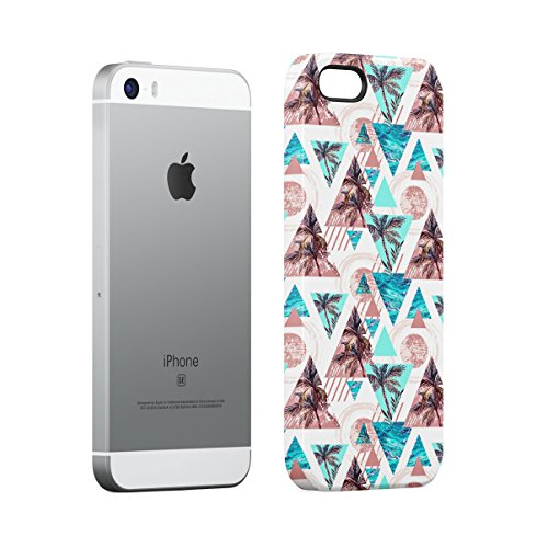 Palm Trees Good Vibes Only Pink Pastel Hipster Summer Pattern Tumblr Apple iPhone 5 , iPhone 5S , iPhone SE Snap-On Hard Plastic Protective Shell Case Cover Custodia Palm Ocean Triangle