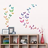 Decowall DW-1602 Watercolour Butterflies Kids Wall Stickers Wall Decals Peel and Stick Removable Wall Stickers for Kids Nursery Bedroom Living Room