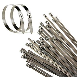 Allright 100 Stk. Edelstahl Metall Stahl Kabelbinder Kabel Binder Hitzeschutzband Auspuffband 4,6x300mm