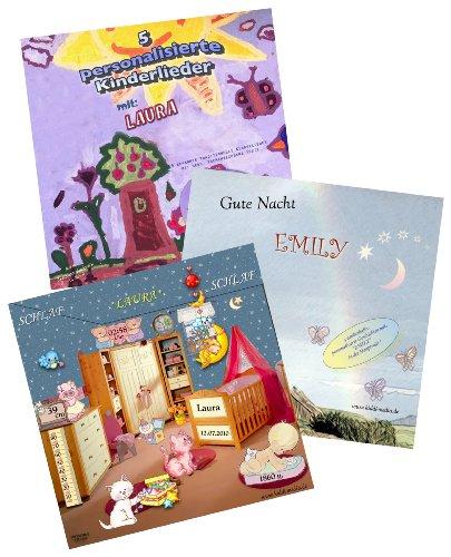 Preisvergleich Produktbild Personalisierte Geschenkbox (3 CDs) für Kinder / Babys - 5 Kinderlieder CD + Schlaflied CD + 3 Guten Nacht Geschichten CD - alle 3 CDs mit Wunschname ! - Jeder Vorname möglich !