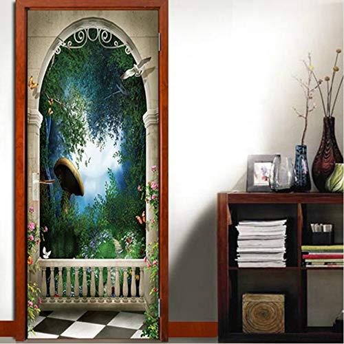 MYLOOO Hinterhof Stein Bögen Selbstklebende DIY Wandbild Tür Tapetenaufkleber Für Heimtextilien Vinyl Abnehmbare 3D Decals 77X200 cm -