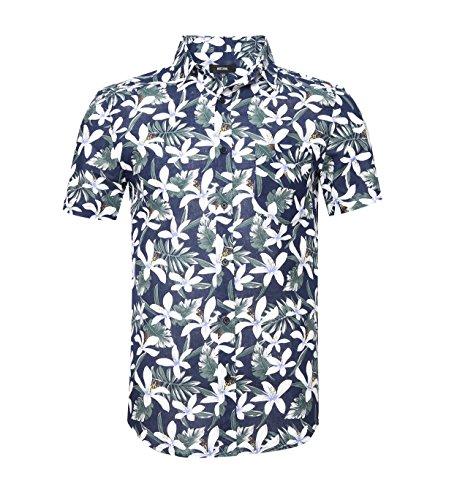 NUTEXROL Camisa Hombre Estampada de Flores, Cierre con Boton Camisa de