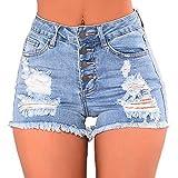Shujin Damen Sommer Jeans-Shorts High Waist Denim Kurze Hose mit Quaste Ripped Loch Shorts Mini Hotpants Kurzschlüsse