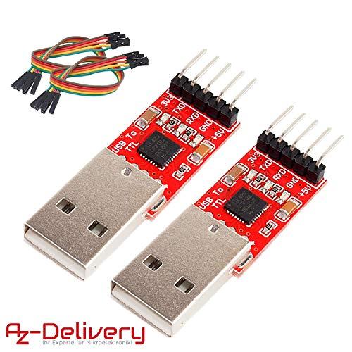 AZDelivery ⭐⭐⭐⭐⭐ 2 x CP2102 USB zu TTL Konverter HW-598 für 3,3V und 5V mit Jumper Kabel für Arduino -