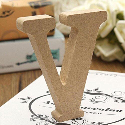 Freeas Dekorative Holz Buchstaben, hängende Wand 26 Buchstaben aus Holz Alphabet Wand Buchstaben für Kinder Baby Name Mädchen Schlafzimmer Hochzeit Geburtstag Party Home Decor-Briefe (V)