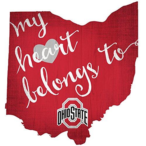 NCAA My Heart Belongs State Aussparung mit Logo Holz Schild, unisex damen Mädchen Jungen Herren, Ohio State Buckeyes