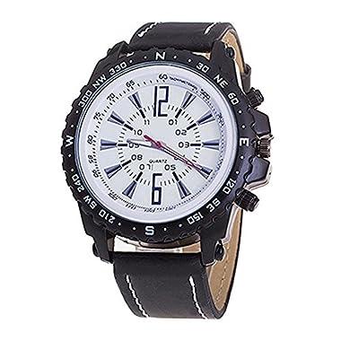 Gemini_Mall® Men Business Casual Pu Leather Quartz Watch Luxury Wrist Watches (Black)