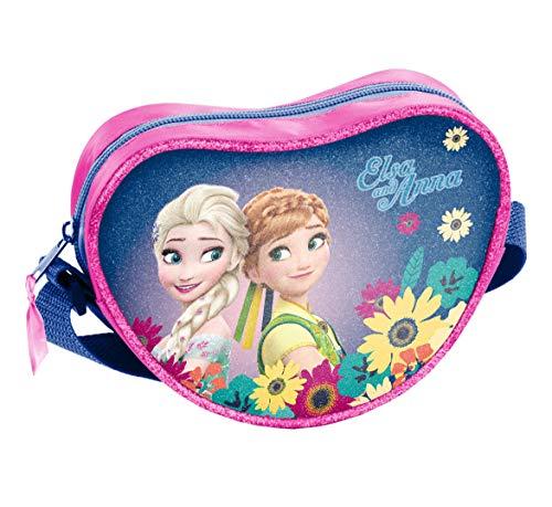 Ragusa-Trade Disney Frozen - Die Eiskönigin, ELSA Anna Olaf, Handtasche Schultertasche Umhängetasche in Herzform (DFV), pink/lila, 17 x 15 x 5 cm (Frozen Olaf-geldbörse)