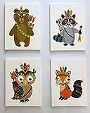 PICSonPAPER Kinder Leinwandbilder 4er-Set Indianer, je 30cm x 40 cm Dekoration fürs Kinderzimmer, Babyzimmer, Kinderposter, Babyposter, Leinwand-Druck, Wandbild, Geschenk (Leinwand 30 x 40)