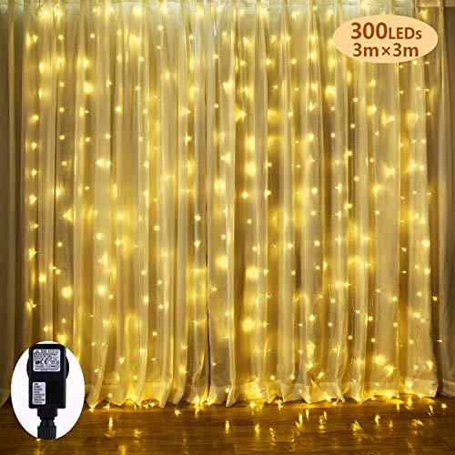 LED Lichtervorhang, BrizLabs 300 LED Lichterkettenvorhang 3m x 3m 8 Modi IP44 Wasserfest Lichterkette Deko für Weihnachten Innen Außen Garten Party Hochzeit Schlafzimmer, Warmweiß