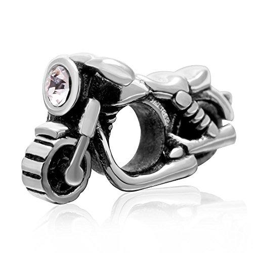 Motocicleta encanto genuino 925cuentas de plata de ley deporte moto con Clear...