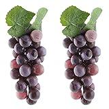 sourcingmap® 2 Stk. Kunststoff Tisch Dekoration Simulation Künstliches Obst Weintrauben Lila