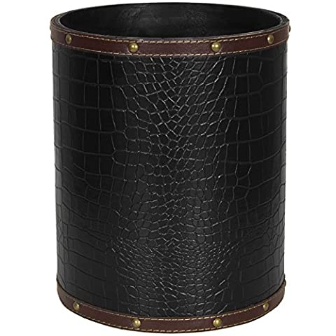 Oriental Furniture CAN-WST-CROC-BLK Black Faux Leather Waste Basket
