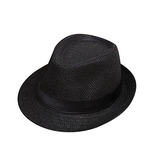 Lonshell Fedora Hut Kinder Mädchen Junge Mode Jazz Panama Mütze Kappe Strand Sonnenhut Faltbarer Trilby Gangster Hut mit Sonnenschutz breite Krempe (A)