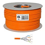 HB Digital Netzwerkkabel LAN Verlegekabel cabel 100m cat 7 Kupfer S/FTP PIMF LSZH Halogenfrei orange RoHS-compliant cat. 7 Cat7a AWG 23/1