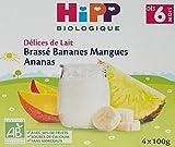 Hipp Biologique Délices de Lait Brassé Pommes Bananes Framboise/Bananes Mangues...
