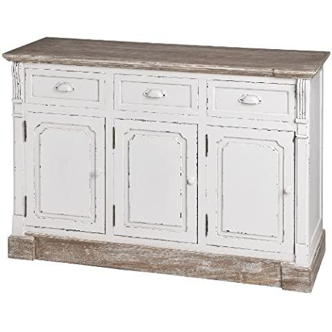 PAINTED & DISTRESSED WHITE FRENCH CARVED LYON ANTIQUE STYLE SIDEBOARD DRESSER BUFFET SERVER#