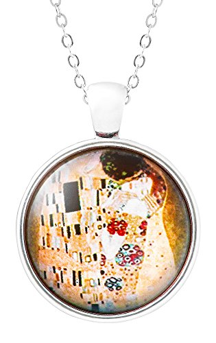 Klimisy - Der Kuss nach Gustav Klimt - Kette mit Anhänger aus Glas - Buy one & Plant one Tree - Hochwertige Halskette mit elegantem Medaillon - Eco & Fair -