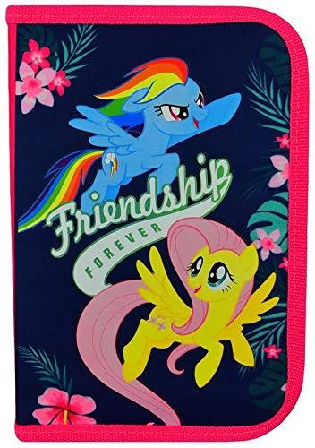 My Little Pony Federtasche 20 x 14 x 3,5 cm Federmappe aufklappbar Federmäppchen für 28 Teile Schüleretui - Pony-spielzeug My Little Gefüllt