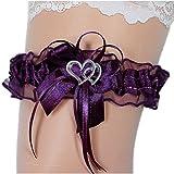Unbekannt Strumpfband Braut mit Schleife Herzchen Silbernaht Farben viele Farben Hochzeit Strumpfbänder (bis 60 cm, violett)