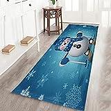 Tappeto di Natale, Tappeto da Pavimento Pad Tappeto Morbido Multi-Pattern Flanella Tappeto Festival Home Decor Dimensioni 40 * 120 cm Stile Pupazzo di Neve