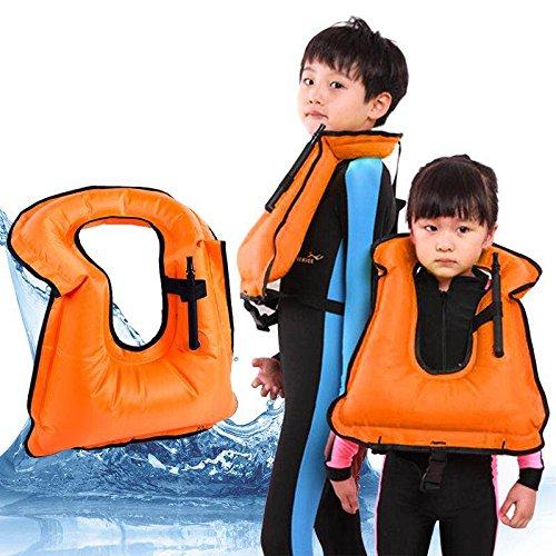 Extra safe Gilet de tuba–Tuba–Homme–Gilet de plongée avec tuba–gonflable–L'apnée plongée de sécurité d'eau de sécurité, Orange