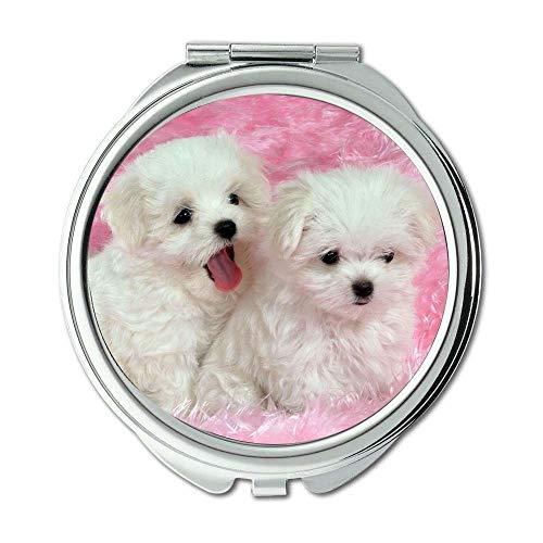 Spiegel, Travel Mirror, Bunte Hunde Baby Hund, Taschenspiegel, 1 X 2X Vergrößerung -