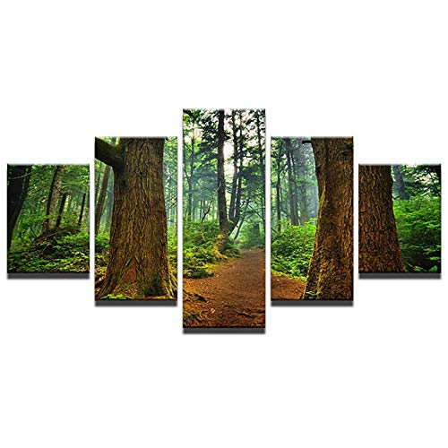 WEMUR Kirschbaum Glücksbaum Bergsee Landschaft 5 Panel HD Print Wand Poster Leinwand Kunst Malerei Raumdekoration Gürtel_Frame_30X40_30X60_30X80cm -