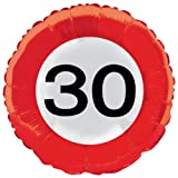 Folat Creative 45 cm Traffic Schild Geburtstag Party Folienballon – 30. Gebu