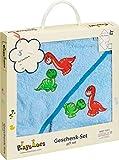 Playshoes 330907 Baby Frottee Geschenk-Set Dino zur Geburt oder Taufe, tolle Geschenkidee für Neugeborene, blau