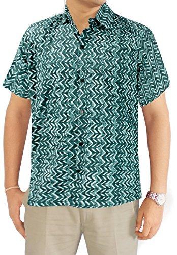 LA LEELA Strand Hawaiihemd Herren XS - 5XL Kurzarm Front-Tasche Hawaii-Print Casual Button Down Hemd Grün Grün